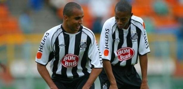 Deivid e Robinho defenderam as cores do Santos entre 2004 e 2005