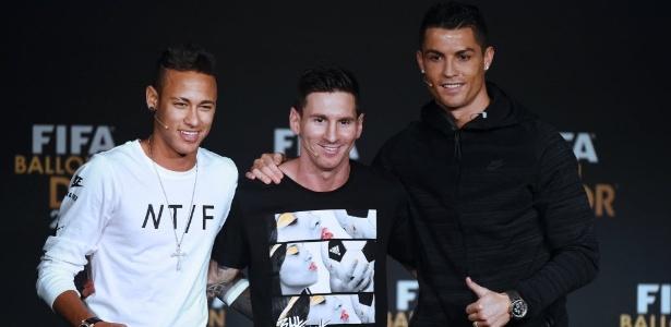 Neymar, Messi e Ronaldo concorreram ao prêmio de melhor do mundo em 2015