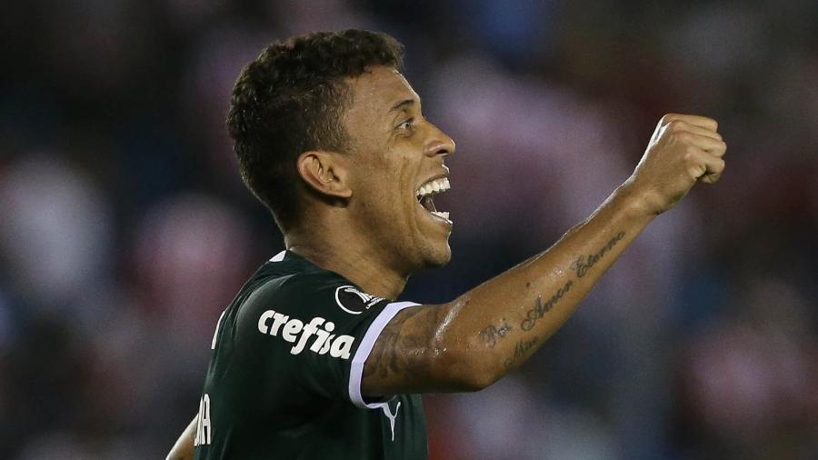 Marcos Rocha comemora gol pelo Palmeiras contra o Junior Barranquilla - Cesar Greco/Ag. Palmeiras/Divulgação