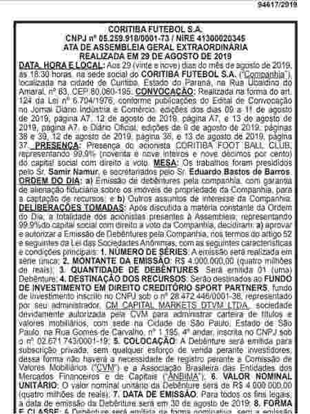 Publicação no Diário Oficial do Estado do Paraná mostra acordo do Coritiba com fundo de investimento - Reprodução