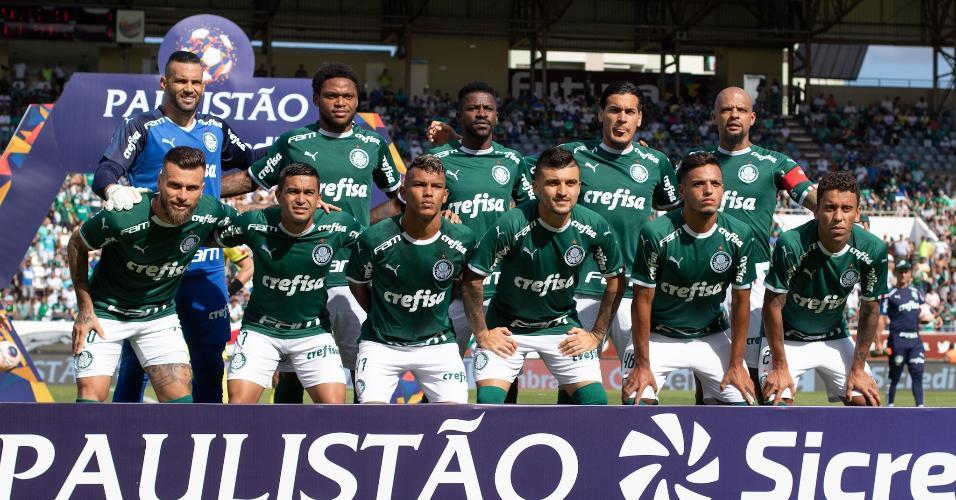 Jogadores do Palmeiras partida contra São Paulo