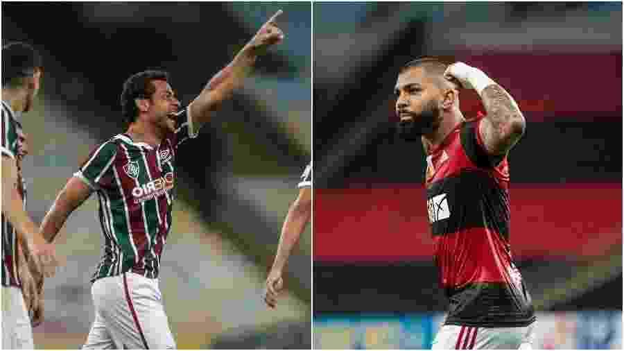 Fred, atacante do Fluminense, e Gabigol, do Flamengo - Fotos de Lucas Merçon / Fluminense e Alexandre Vidal / Flamengo