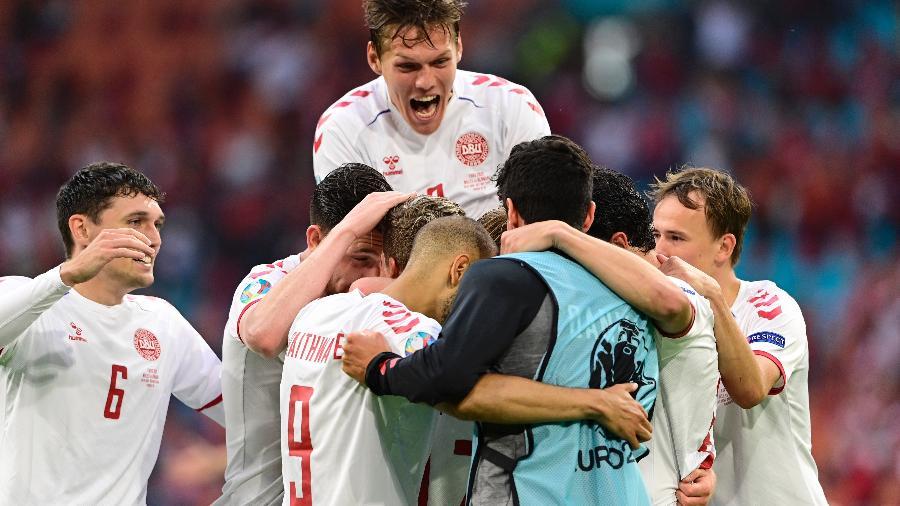 Eurocopa: Dolberg comemora o segundo gol da Dinamarca contra País de Gales - Pool via REUTERS