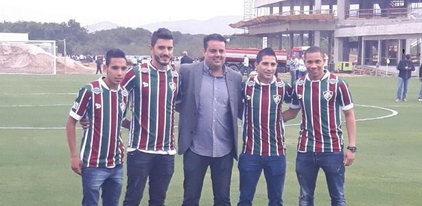 Rojas, Marquinhos, Jorge Macedo (dir.executivo), Danilinho e Wellington no CT do Flu