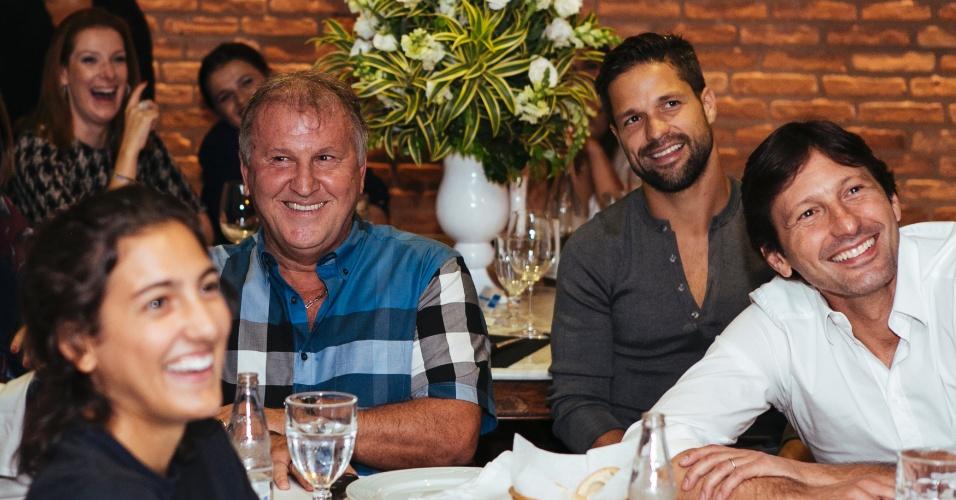 Zico, Diego e Leonardo no evento que lançou o Canal do Galinho no YouTube