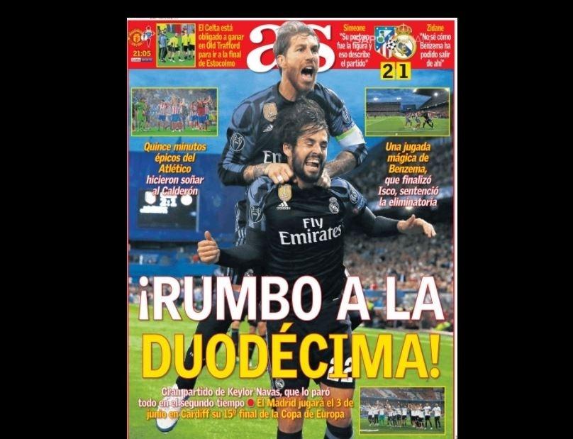 AS repercute Atlético de Madri x Real