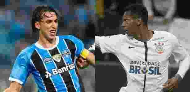 Geromel (do Grêmio) e Jô (do Corinthians) se preparam para duelo entre líder e vice do BR - Jeferson Guareze/AGIF e Daniel Augusto Jr/Ag. Corinthians