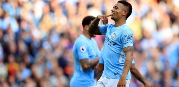 Gabriel Jesus comemora após marcar pelo City contra o Stoke