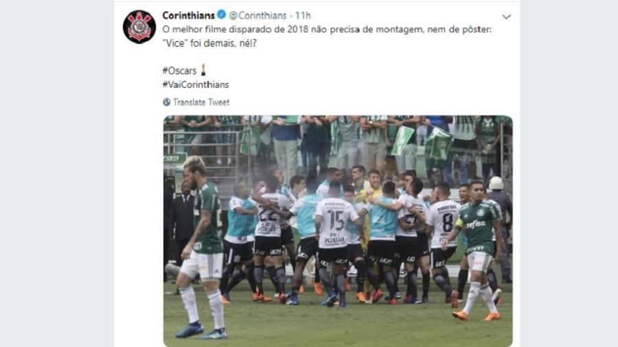 Corinthians faz mensagem em alusão à final do Campeonato Paulista de 2018 - Reprodução