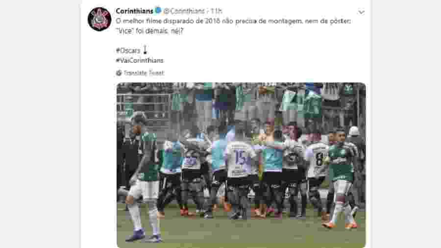 Corinthians faz mensagem em alusão à final do Campeonato Paulista de 2018  Imagem  Reprodução 576083910eadc