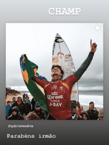 Neymar parabenizou Gabriel Medina pelo título em J-Bay - Reprodução