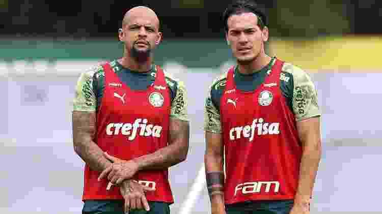 Felipe Melo e Gustavo Gómez são os zagueiros do Palmeiras com Vanderlei Luxemburgo - Cesar Greco/Ag. Palmeiras