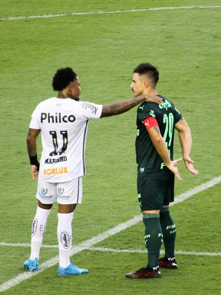 Marinho e Willian se cumprimentam antes de Santos x Palmeiras pelo Brasileirão 2020 - Fernanda Luz/AGIF