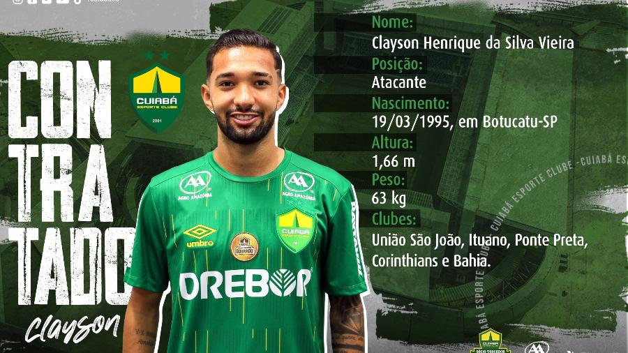 Cuiabá anuncia empréstimo de Clayson, ex-Bahia e Corinthians - Twitter