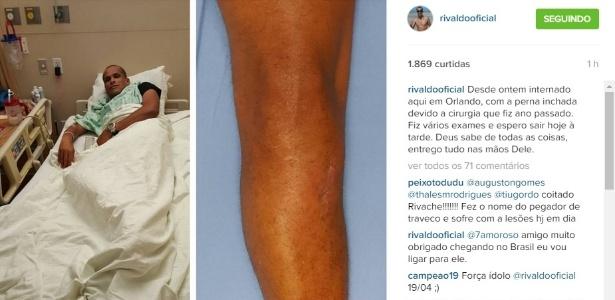 Rivaldo postou imagem sua internado na tarde desta terça-feira (22)