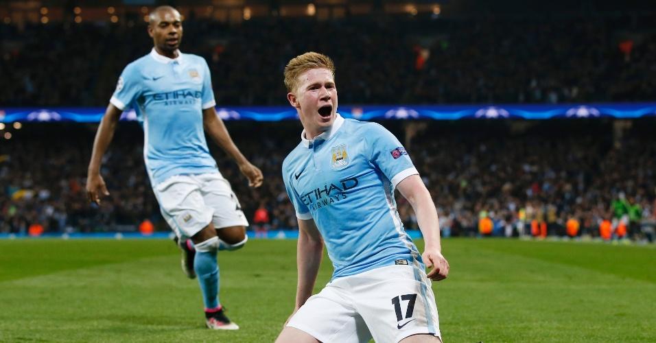 Kevin de Bruyne comemora após abrir o placar para o Manchester City contra o PSG pela Liga dos Campeões