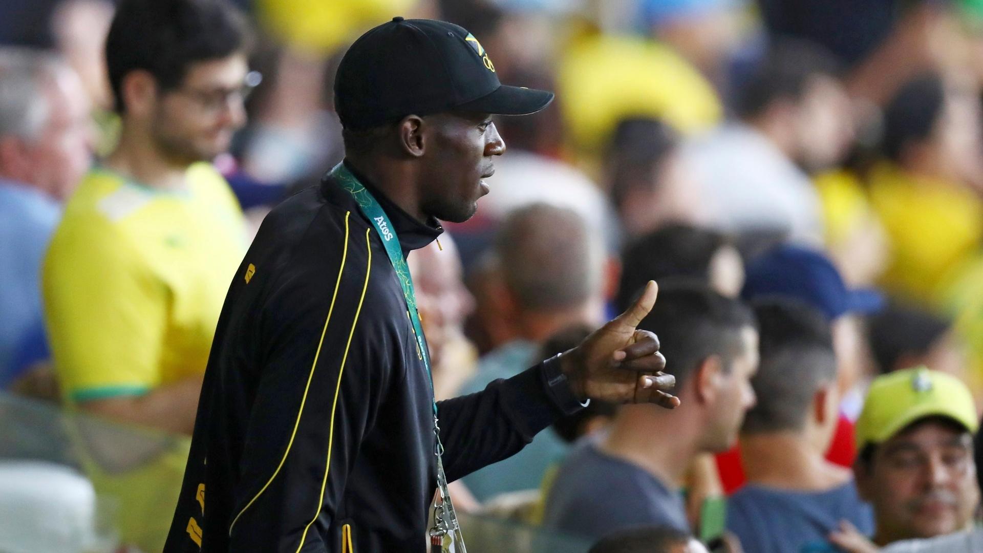 Usain Bolt assiste a partida entre Brasil e Alemanha