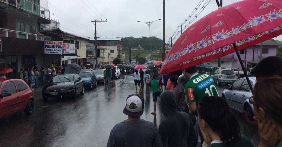 Torcedores aguardam passagem do cortejo nas ruas de Chapecó