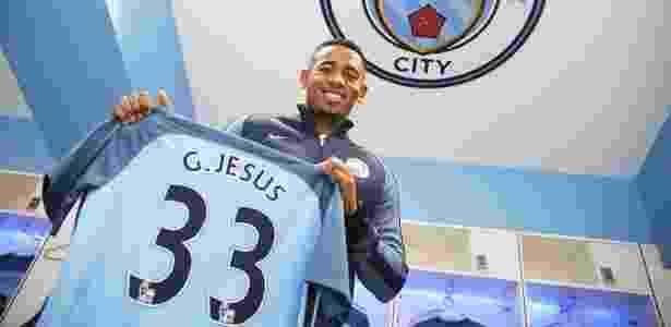 Gabriel Jesus foi apresentado oficialmente como reforço do Manchester City - Divulgação/Manchester City