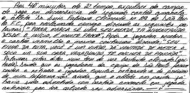 Súmula de Elmo para Luis Fabiano - Divulgação - Divulgação