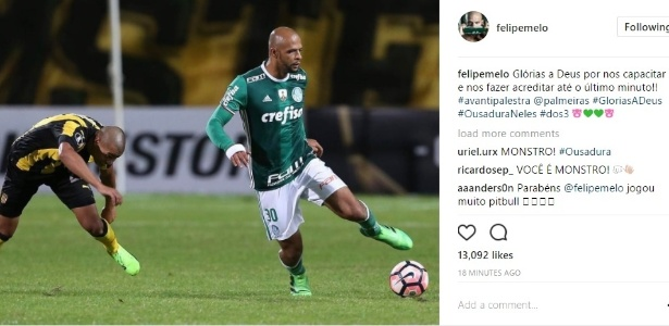 Felipe Melo se manifesta nas redes sociais depois de partida com Peñarol
