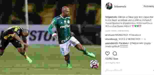 Felipe Melo se manifesta nas redes sociais depois de partida com Peñarol - Reprodução/Instagram