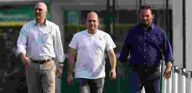 Galiotte, Cícero Souza e Mattos caminham na Academia de Futebol do Palmeiras - Cesar Greco/Ag. Palmeiras/DIvulgação