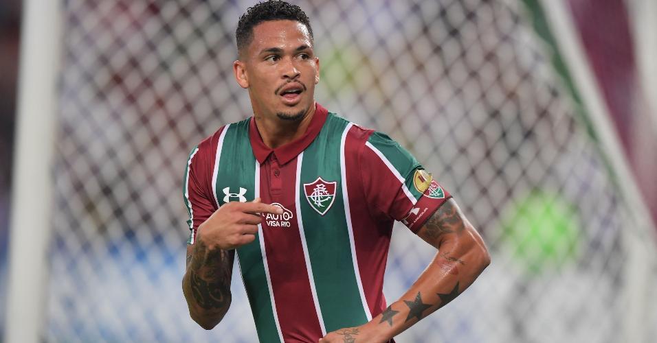 Luciano comemora após marcar para o Fluminense contra o Atlético Nacional pela Copa Sul-Americana