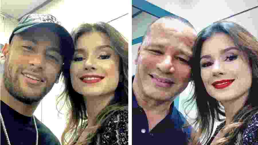 Neymar e seu pai tietam Paula Fernandes em Portugal - Reprodução/Instagram/Montagem