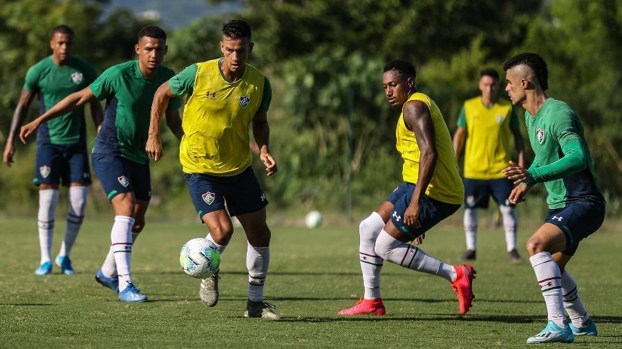 Jogadores do Fluminense apoiam postura do presidente do clube, Mário Bittencourt, em relação à volta do futebol - Lucas Merçon / Fluminense F.C.