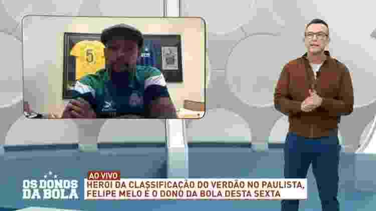 Neto e Felipe Melo fazem as pazes ao vivo - Reprodução/Band - Reprodução/Band