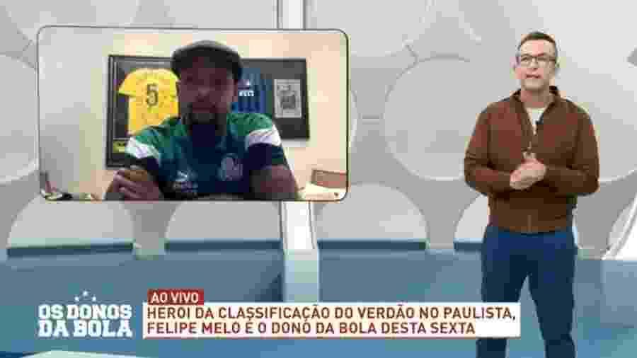 Neto e Felipe Melo fazem as pazes ao vivo - Reprodução/Band