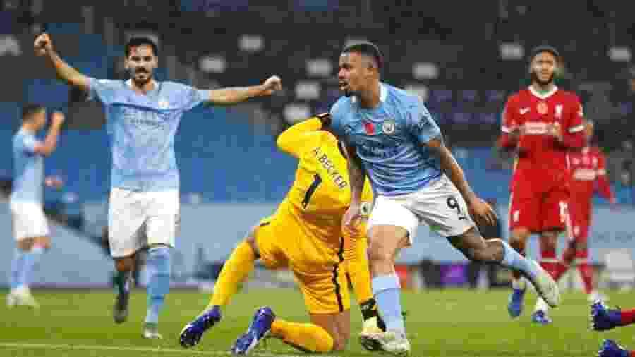 8.nov.2020 - Gabriel Jesus comemorando gol do Manchester City sobre o Liverpool - Clive Brunskill / Getty Images