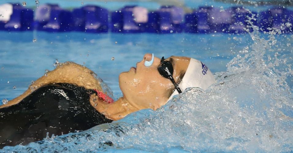 Luiza Vieira terminou apenas na quarta colocação na bateria eliminatória dos 200m costas
