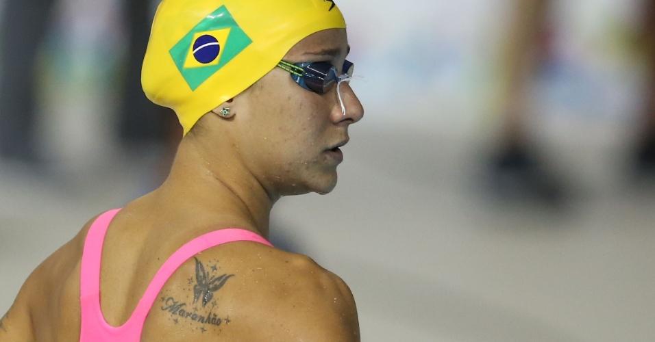 Tatuagem da nadadora brasileira Joanna Maranhão combina seu sobrenome e um dos estilos que ela nada: borboleta