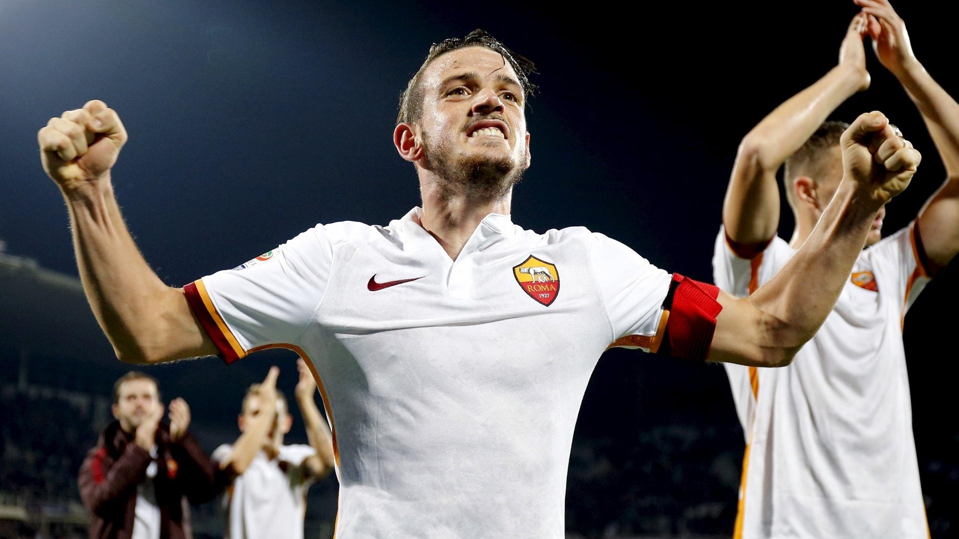 Florenzi, da Roma, comemora vitória da sua equipe sobre a Fiorentina, pelo Campeonato Italiano