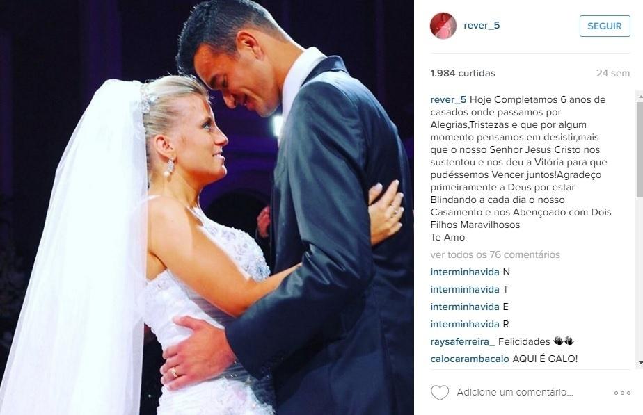 Réver e a mulher Giovana se casaram em Porto Alegre, quando ele ainda defendia o Grêmio