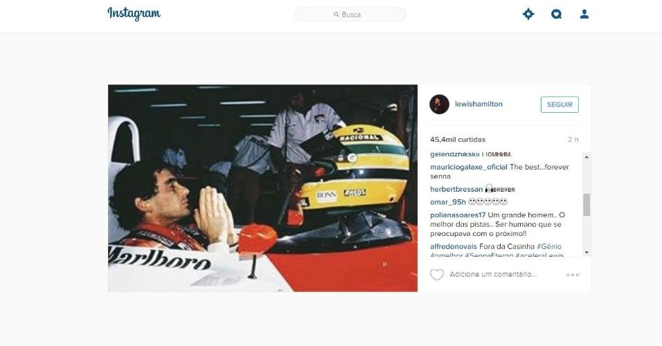 Reprodução do Instagram de Lewis Hamilton, que homenageou Ayrton Senna pelo 22º aniversário de morte