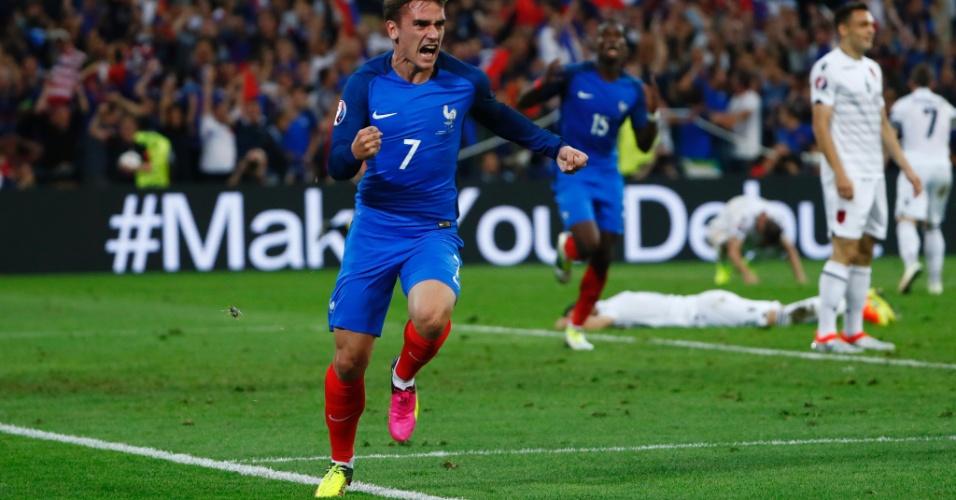 Griezmann comemora gol tardio que deu a vitória à França sobre Albânia