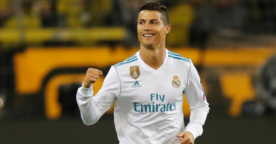 Cristiano Ronaldo comemora seu gol contra o Dortmund, o segundo do Real no jogo