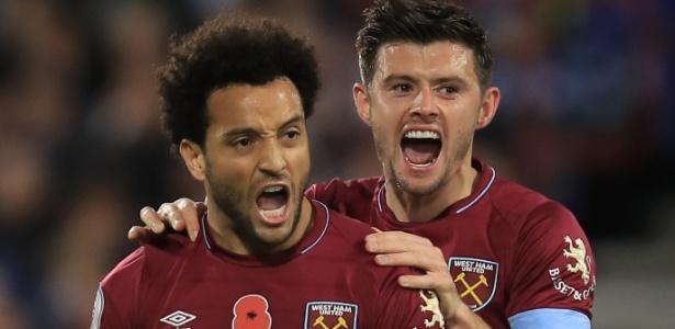 Felipe Anderson comemora gol do West Ham em jogo contra o Huddersfield - Marc Atkins/Getty Images