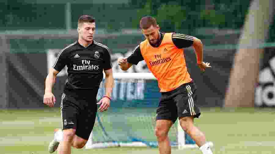 Luka Jovic e Eden Hazard são dois reforços do Real Madrid para a próxima temporada - Helios de la Rubia/Real Madrid/Getty Images