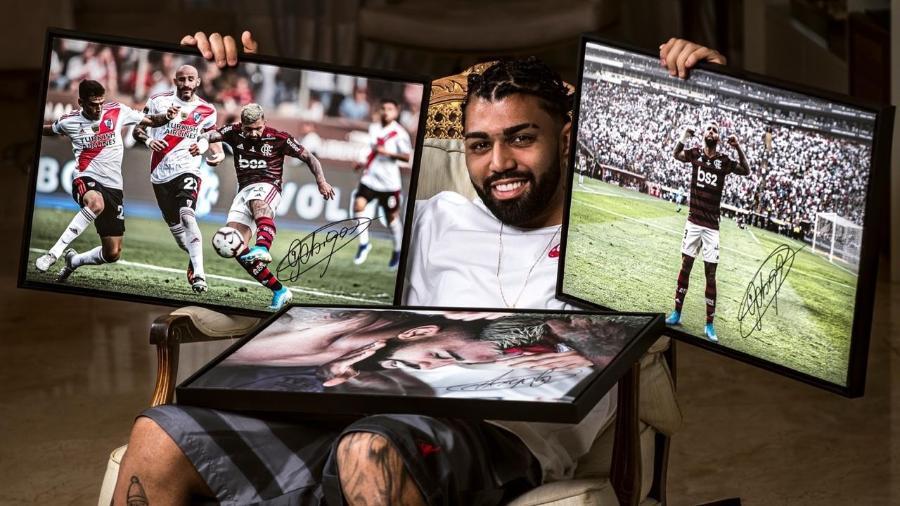 Atacante do Flamengo, Gabigol lança linha de quadros com imagens da final da Libertadores autografadas - Divulgação