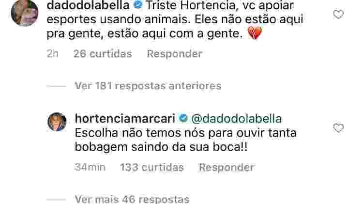 Dado Dolabella e Hortência discutem em publicação - Reprodução/Instagram - Reprodução/Instagram