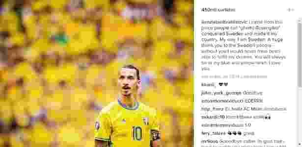 Ibrahimovic postou mensagem de despedida no Instagram - Reprodução/Instagram - Reprodução/Instagram