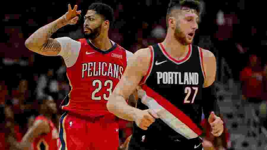 Anthony Davis comemora pontos do New Orleans Pelicans na série contra o Portland Trail Blazers - Derick E. Hingle-USA TODAY Sports