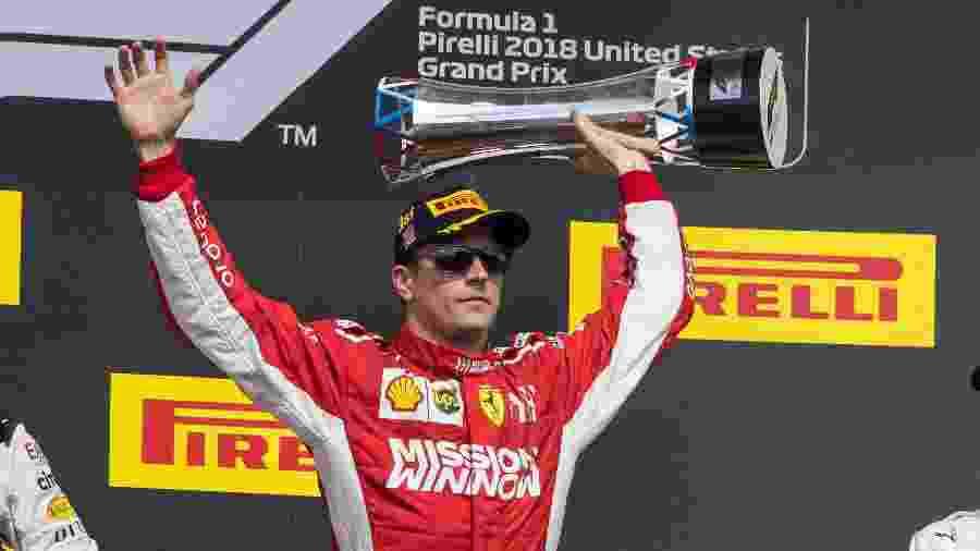 Kimi Raikkonen celebra sua vitoria do GP dos EUA - Jerome Miron/USA TODAY Sports