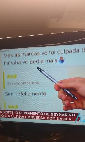 Neymar e Najila trocam mensagens