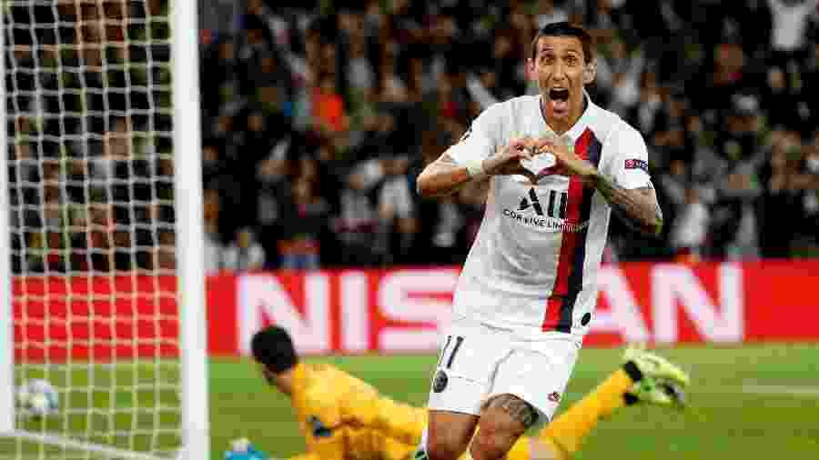 Di María comemora gol do PSG contra o Real Madrid na Champions League - Thomas SAMSON / AFP