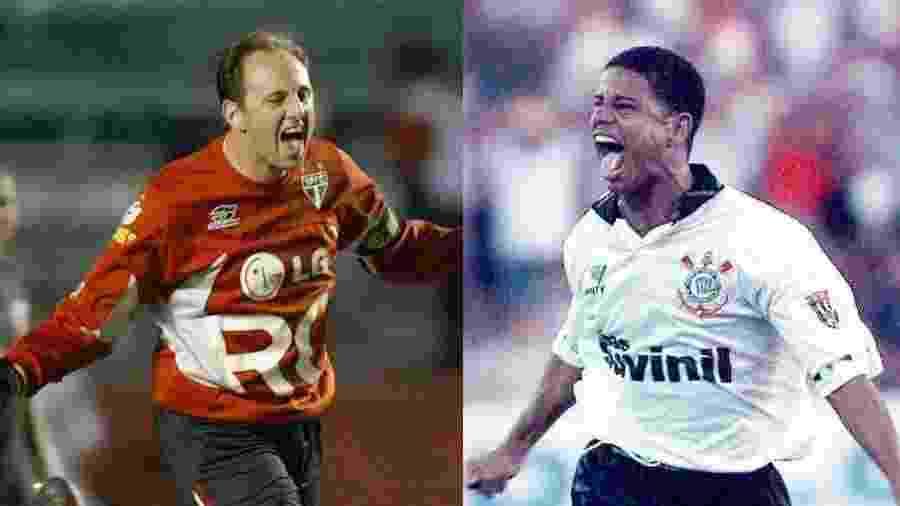 Rogério Ceni e Marcelinho comemoram gol de falta por São Paulo e Corinthians, respectivamente - Mauricio Lima/AFP e Antonio Gaudério/Folha Imagem